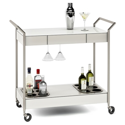 BDI Verra Modern Mobile Glass Bar Cart in Oyster