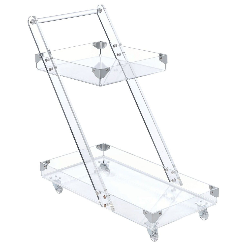 Vevey Clear Acrylic Modern Serving Cart