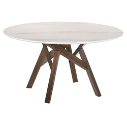 Victor Modern 54 inch  Round Walnut + White Marble Dining Table