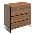 Victory Walnut Veneer + Clear Glass Modern Chest of Drawers