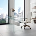 Victory White Lacquer + Clear Glass Modern Desk - Lifestyle