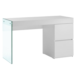 Victory White Lacquer + Clear Glass Modern Desk