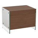 Victory Walnut + Clear Glass Modern Nightstand + End Table