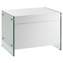 Victory White + Clear Glass Modern Nightstand + End Table
