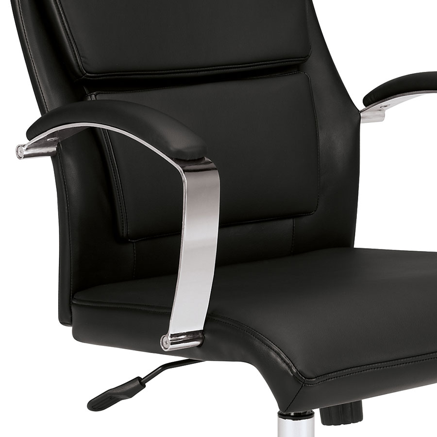 victory black modern office chair  eurway furniture -  victory modern black leather office chair  detail view