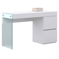 Victory Clear Glass + White Lacquer Modern Vanity