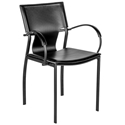 Vienna Black Regenerated Leather + Black Steel Modern Dining Arm Chair