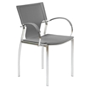 Vienna Gray Regenerated Leather + Chromed Steel Modern Dining Arm Chair