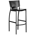 Vienna Black Regenerated Leather + Black Steel Modern Bar Stool