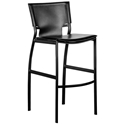 Vienna Black Regenerated Leather + Black Steel Modern Counter Stool