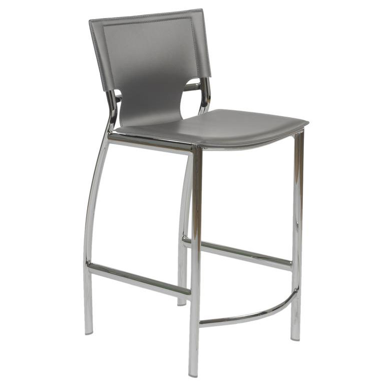 Vienna Gray Regenerated Leather + Chromed Steel Modern Counter Stool