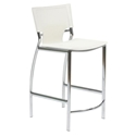 Vienna White Regenerated Leather + Chromed Steel Modern Counter Stool