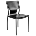 Vienna Black Regenerated Leather + Black Steel Modern Dining Side Chair