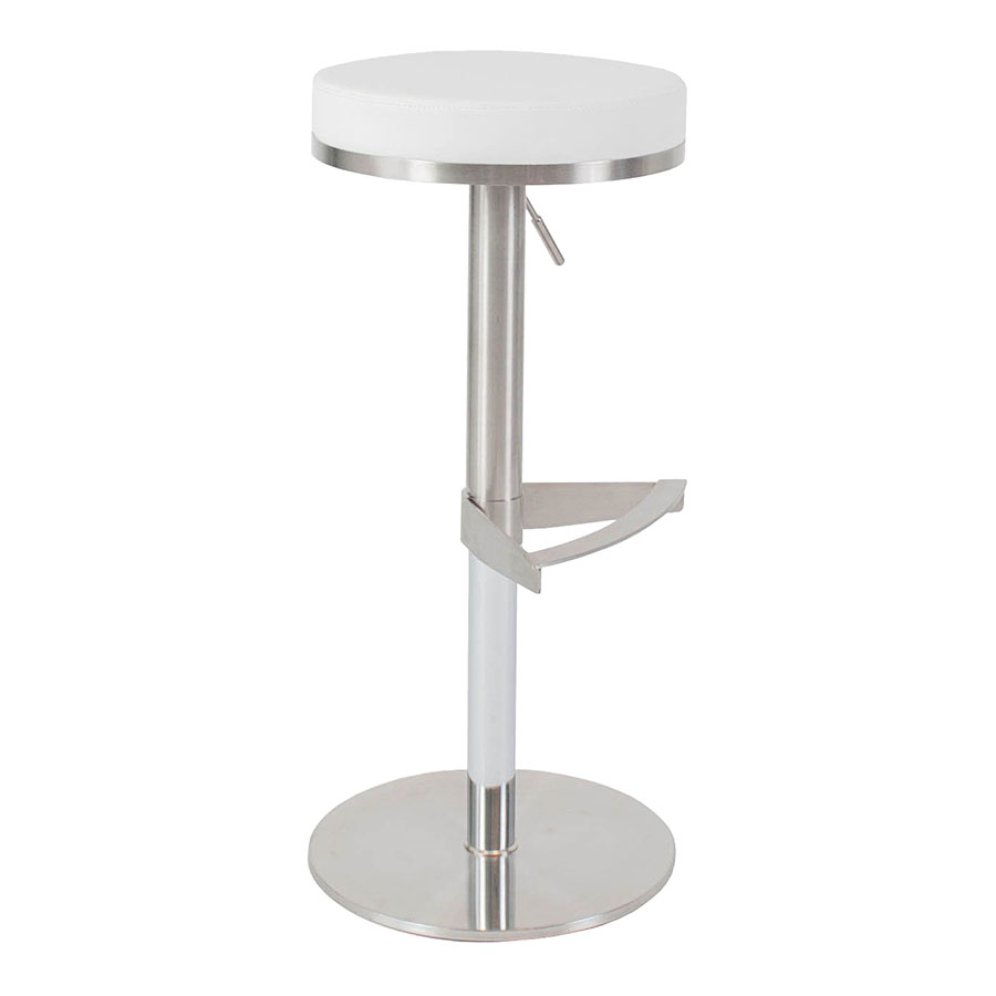 Vilma White Adjustable Modern Stool