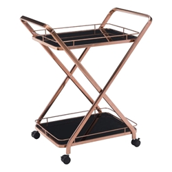 Vilma Rose Gold Stainless Steel + Black Tempered Glass Modern Bar Serving Cart