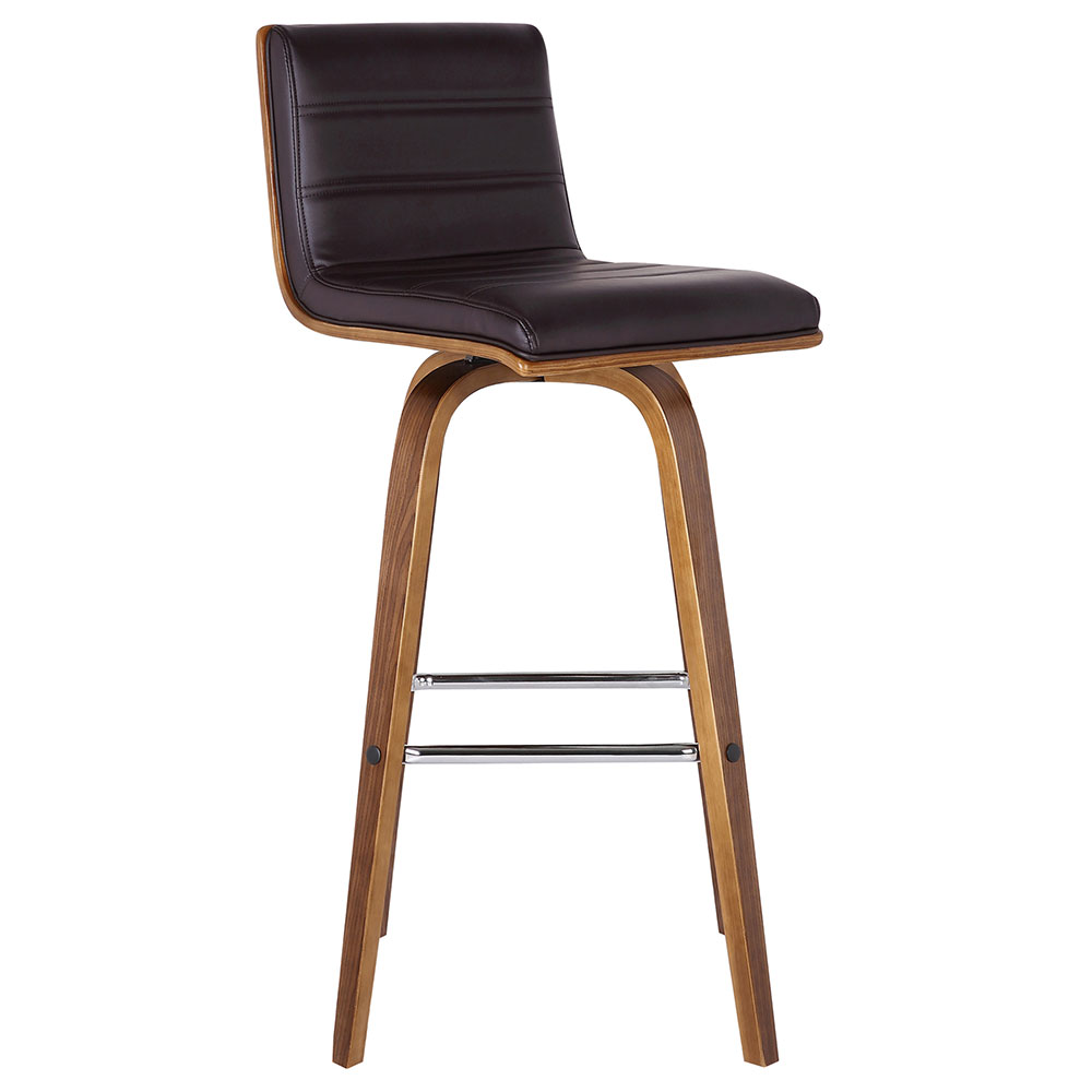 Vincent Modern Walnut + Brown Faux Leather Counter Stool