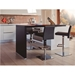 Vladimir Black Italian Leather + Polished Stainless Steel Contemporary Adjustable Height Bar + Counter Stool