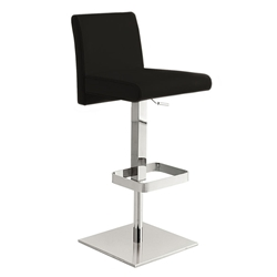 Vladimir Black Italian Leather + Polished Stainless Steel Modern Adjustable Height Bar + Counter Stool