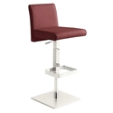 Vladimir Burgundy Italian Leather + Stainless Steel Modern Adjustable Stool