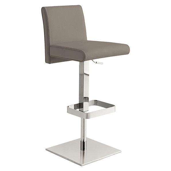 Vladimir Taupe Italian Leather + Polished Stainless Steel Modern Adjustable Height Bar + Counter Stool