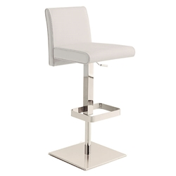 Vladimir White Italian Leather + Polished Stainless Steel Modern Adjustable Height Bar + Counter Stool