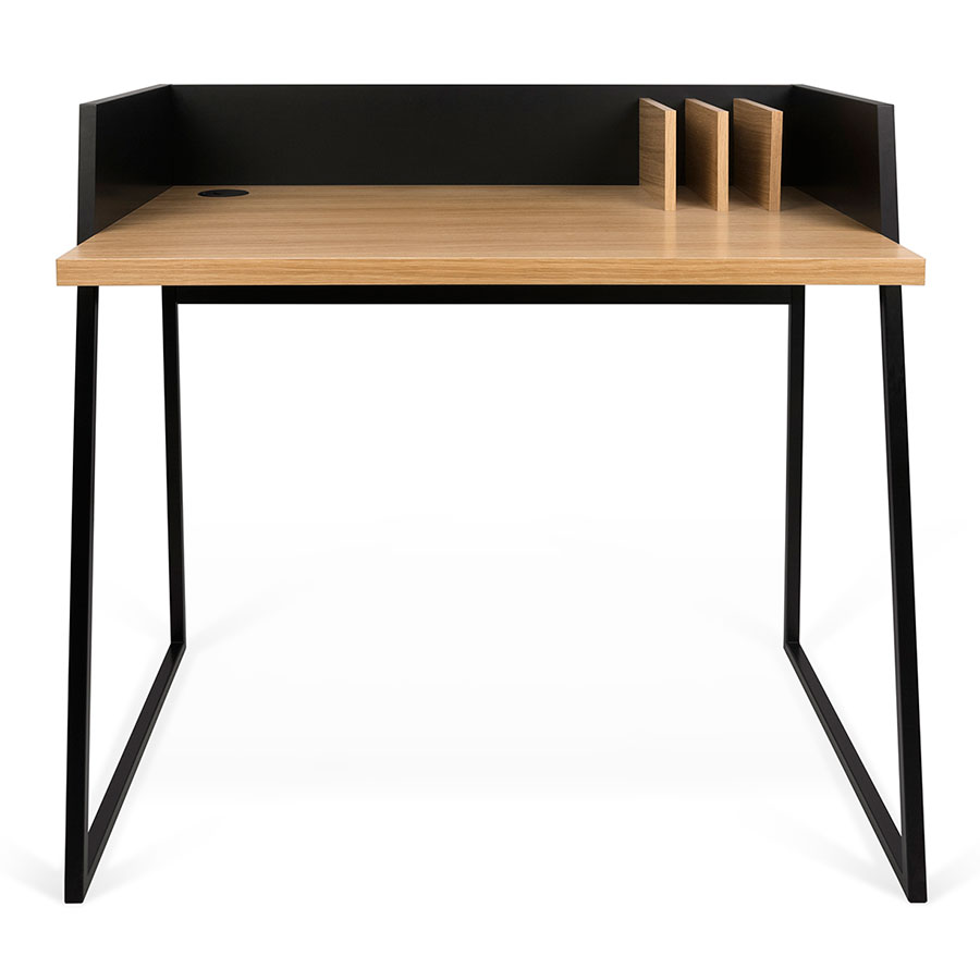 Volga Oak Black Contemporary Small Sized Desk