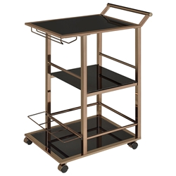 Waldorf Modern Black + Chocolate Chrome Serving Cart