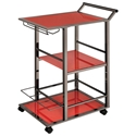 Waldorf Modern Red + Black Nickel Serving Cart