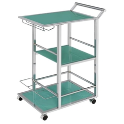 Waldorf Modern Turquoise + Chrome Serving Cart
