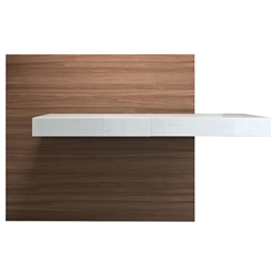 Modloft Walker Glossy White + Walnut Back Panel Modern Cantilever Desk