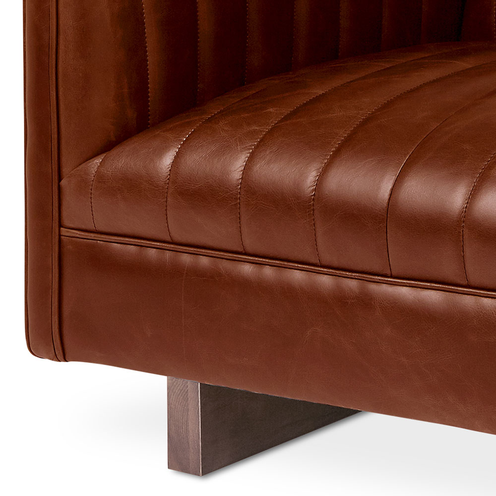 ... Gus* Modern Wallace Brown Saddle Leather Arm Chair   Detail ...