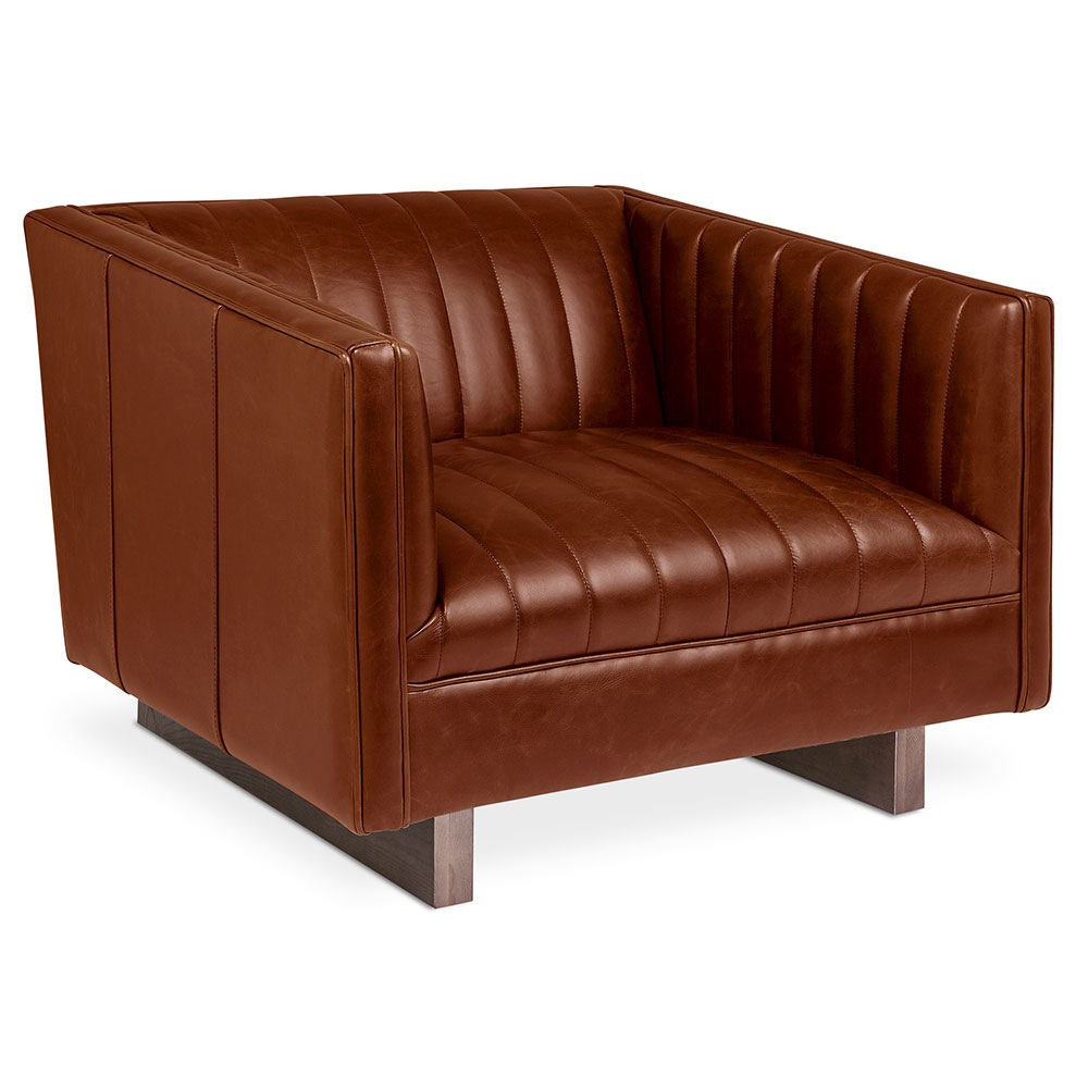 Gus Modern Wallace Saddle Brown Leather Chair Eurway