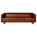 Gus* Modern Wallace Sofa in Saddle Brown Leather Upholstery with Walnut Stained Solid Wood Block Feet