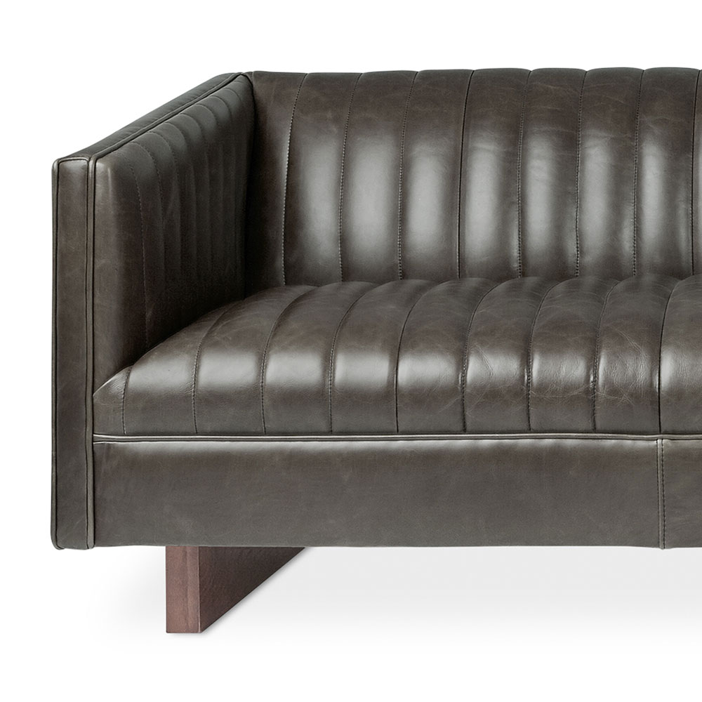 Gus Modern Wallace Saddle Gray Leather Sofa Eurway