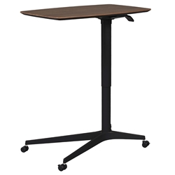 Warner Modern Adjustable Height Walnut and Black Laptop Table