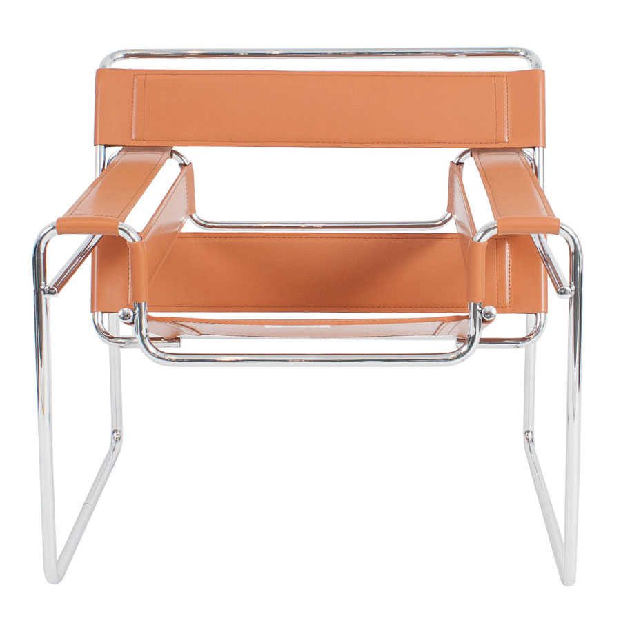 Wassily Modern Classic Chair in Cognac - Front View