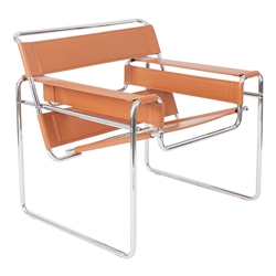Wassily Modern Classic Chair in Cognac Top Grain Leather