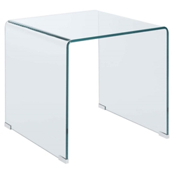Waterfall Modern Clear Bent Glass 22 In. End Table