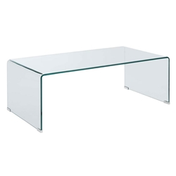 Waterfall Modern Clear Bent Glass 47 In. Coffee Table