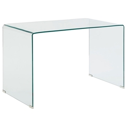 Waterfall Modern Clear Bent Glass 47 In. Desk