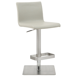 Watson Modern Adjustable Stool in Light Gray Faux Leather