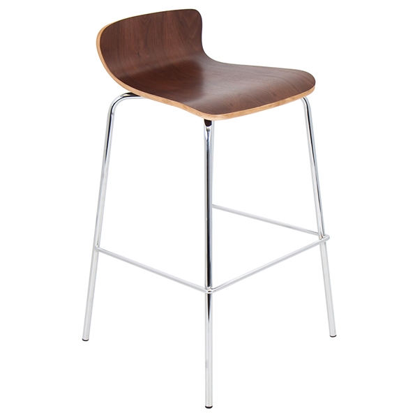 Weatherford Modern Walnut Stacking Bar Stool