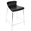 Weatherford Black Bent Plywood + Chromed Steel Modern Counter Stool