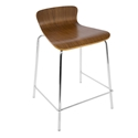 Weatherford Walnut Bent Plywood + Chrome Modern Counter Stool