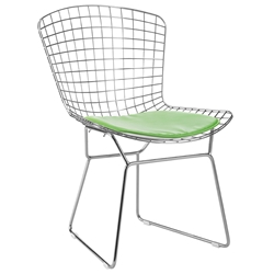Webster Modern Chrome Dining Chair + Green Cushion