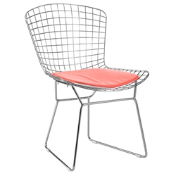 Webster Modern Chrome Dining Chair + Red Cushion