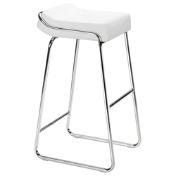 Wedge Modern Chrome + White Bar Stool by Zuo