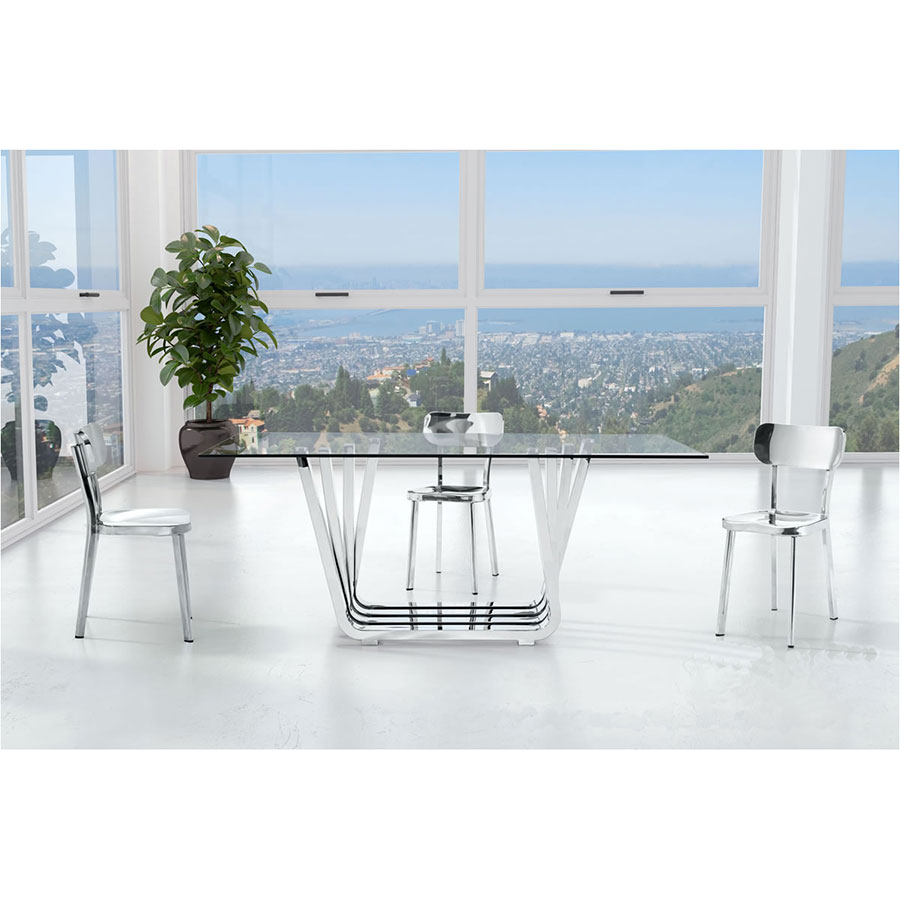 Weiland Polished Stainless Steel Modern Dining Side Chair