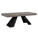 Wendall Contemporary Rectangle Elm Dining Table with Steel Base