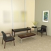 Wendell Contemporary Mahogany Reception Bench + Chairs